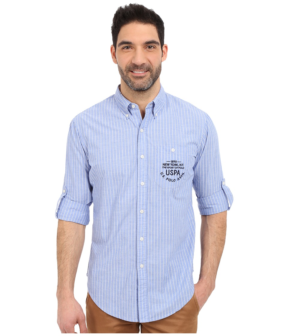 U.S. POLO ASSN. - Button Down Slim Fit Striped Oxford Shirt (Wedding Blue) Men's Long Sleeve Button Up