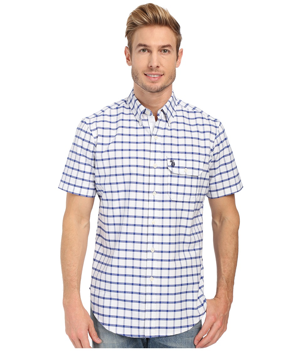 U.S. POLO ASSN. - Button Down Collar Oxford Check Sport Shirt (Blue Tie) Men's Short Sleeve Button Up