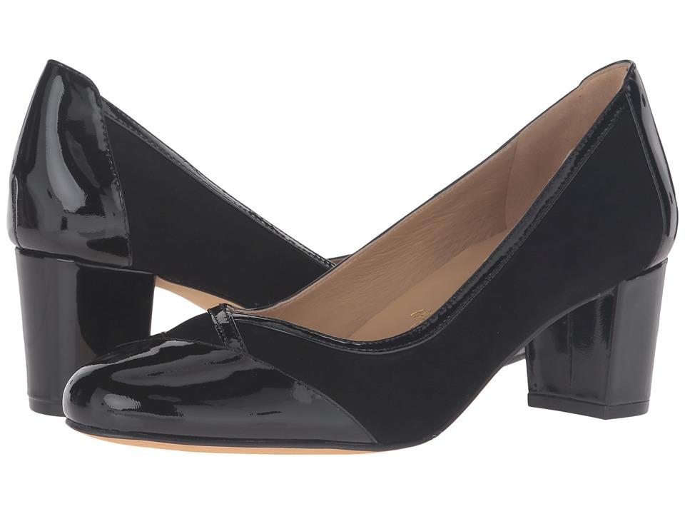 Trotters - Phoebe (Black Kid Suede/Patent Leather) High Heels