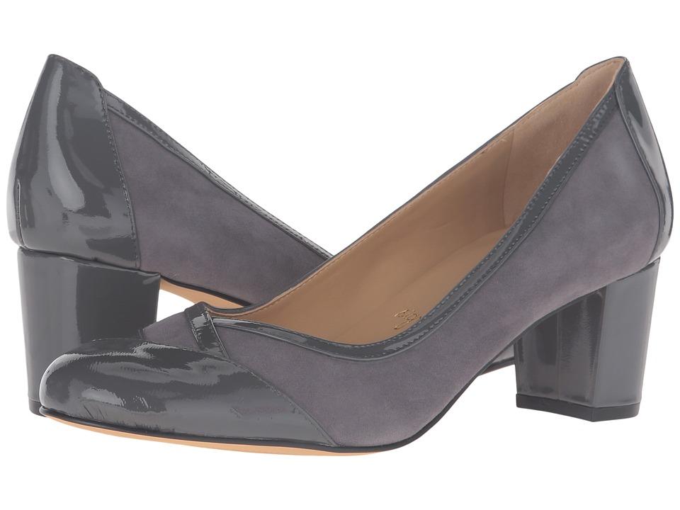Trotters - Phoebe (Dark Grey Kid Suede/Patent Leather) High Heels