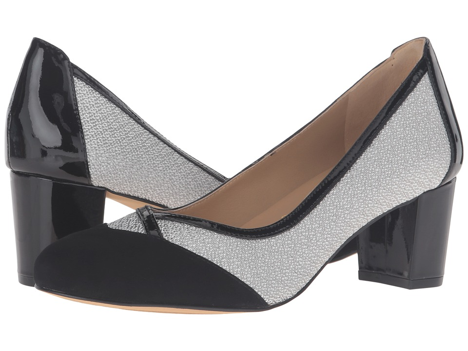 Trotters - Phoebe (Black Kid Suede/Metallic/Patent Leather) High Heels