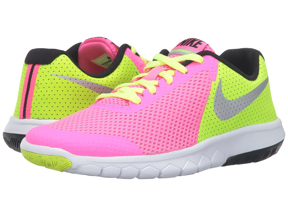 Nike Kids - Flex Experience 5 (Big Kid) (Pink Blast/Volt/Black/Metallic Silver) Girls Shoes