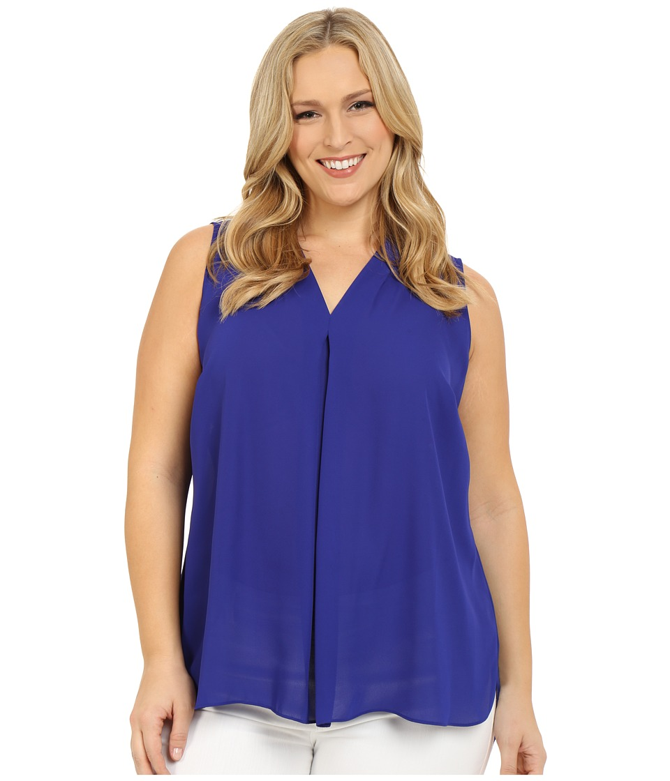 Vince Camuto Plus - Plus Size Sleeveless Blouse with Inverted Pleat (Vivid Indigo) Women's Blouse