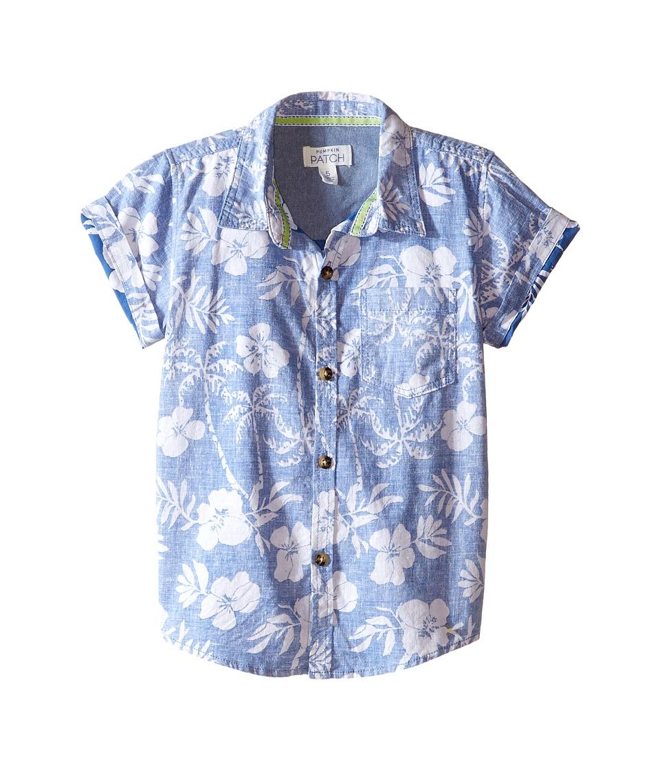 Pumpkin Patch Kids - Palm Reverse Print Shirt (Infant/Toddler/Little Kids) (Anchor Blue) Boy's Short Sleeve Button Up