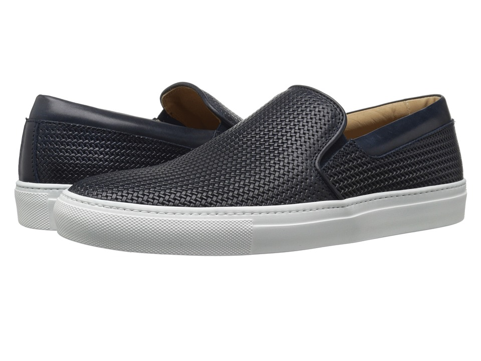Aquatalia - Anderson (Navy Woven Full Grain) Men's Slip on Shoes
