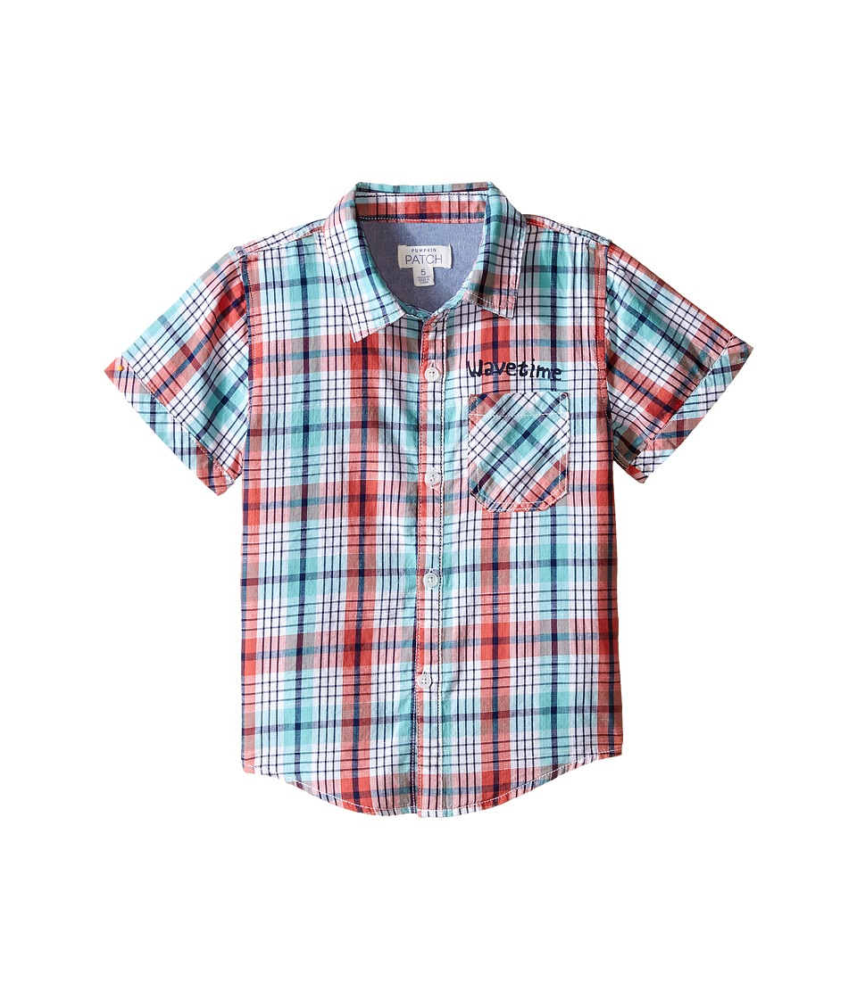 Pumpkin Patch Kids - Checked Slub Shirt (Infant/Toddler/Little Kids) (Sunset Orange) Boy's Short Sleeve Button Up