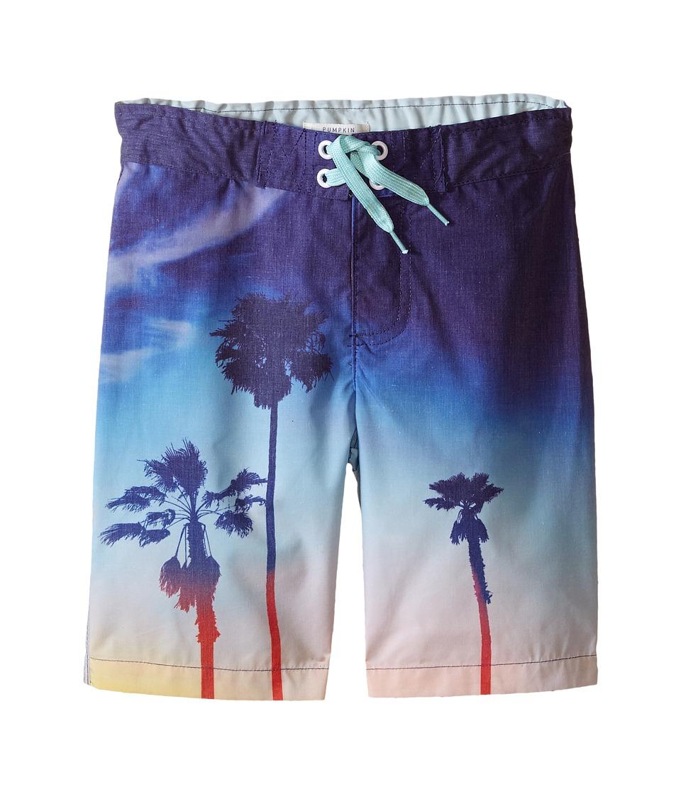 Pumpkin Patch Kids - Palm Tree Boardshorts (Infant/Toddler/Little Kids) (Anchor Blue) Boy's Swimwear