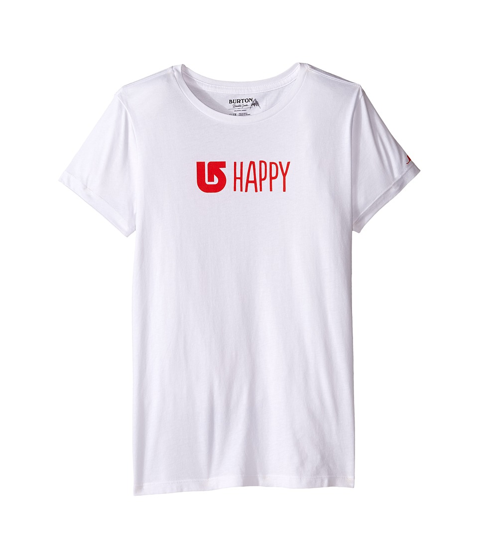Burton Kids Happy Short Sleeve Crew (Big Kids) (Stout White) Girl