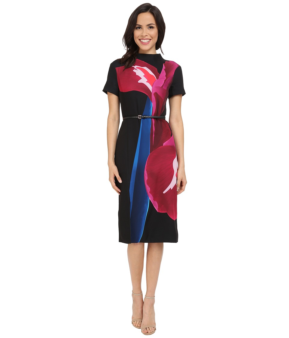 Ted Baker - Sianne Stencilled Stems Midi Dress (Deep Pink) Women's Dress