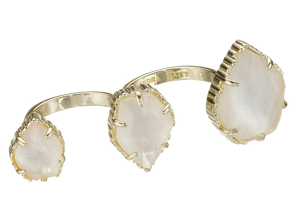 Kendra Scott - Naomi Adjustable Double Ring (Gold/Ivory Mother-of-Pearl) Ring