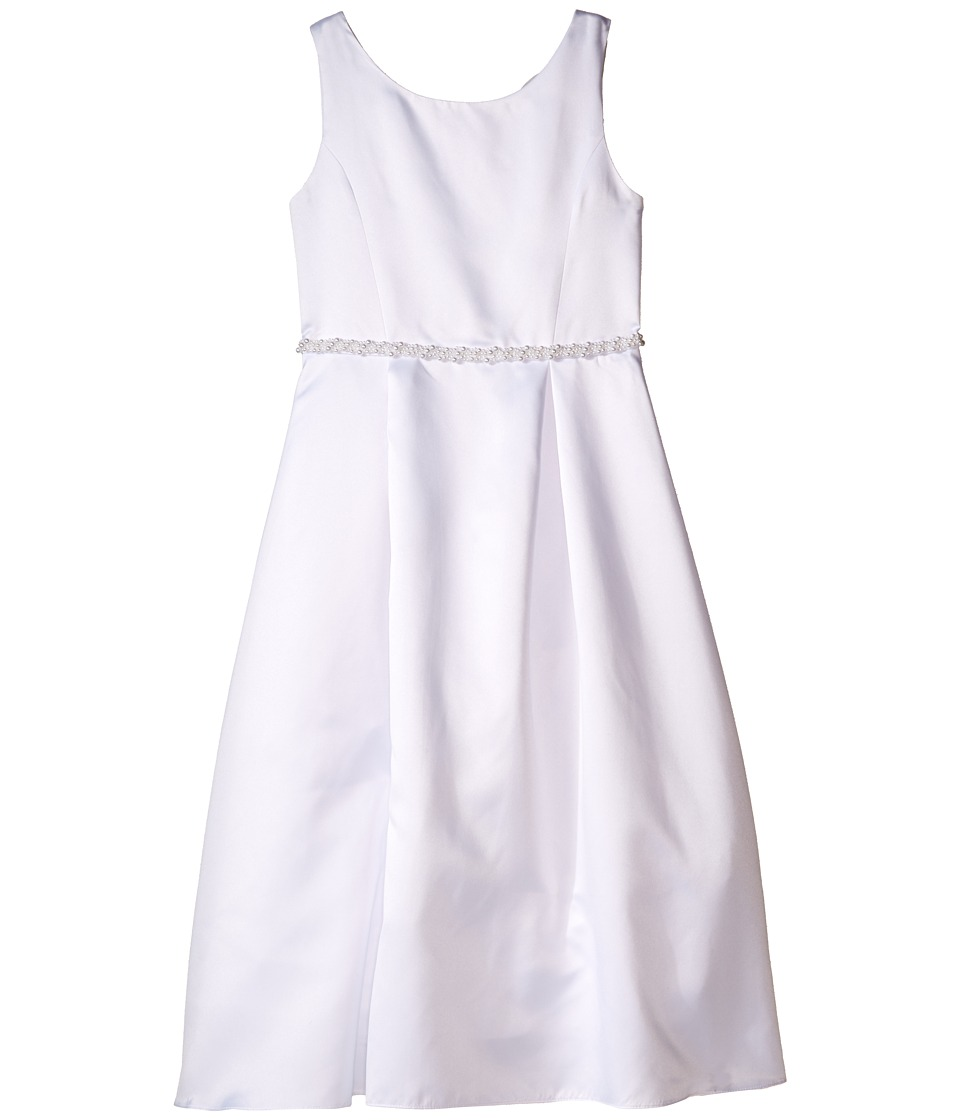 Us Angels - Organza Sleeveless A-Line Dress w/ Beaded Trim (Little Kids/Big Kids) (White) Girl's Dress