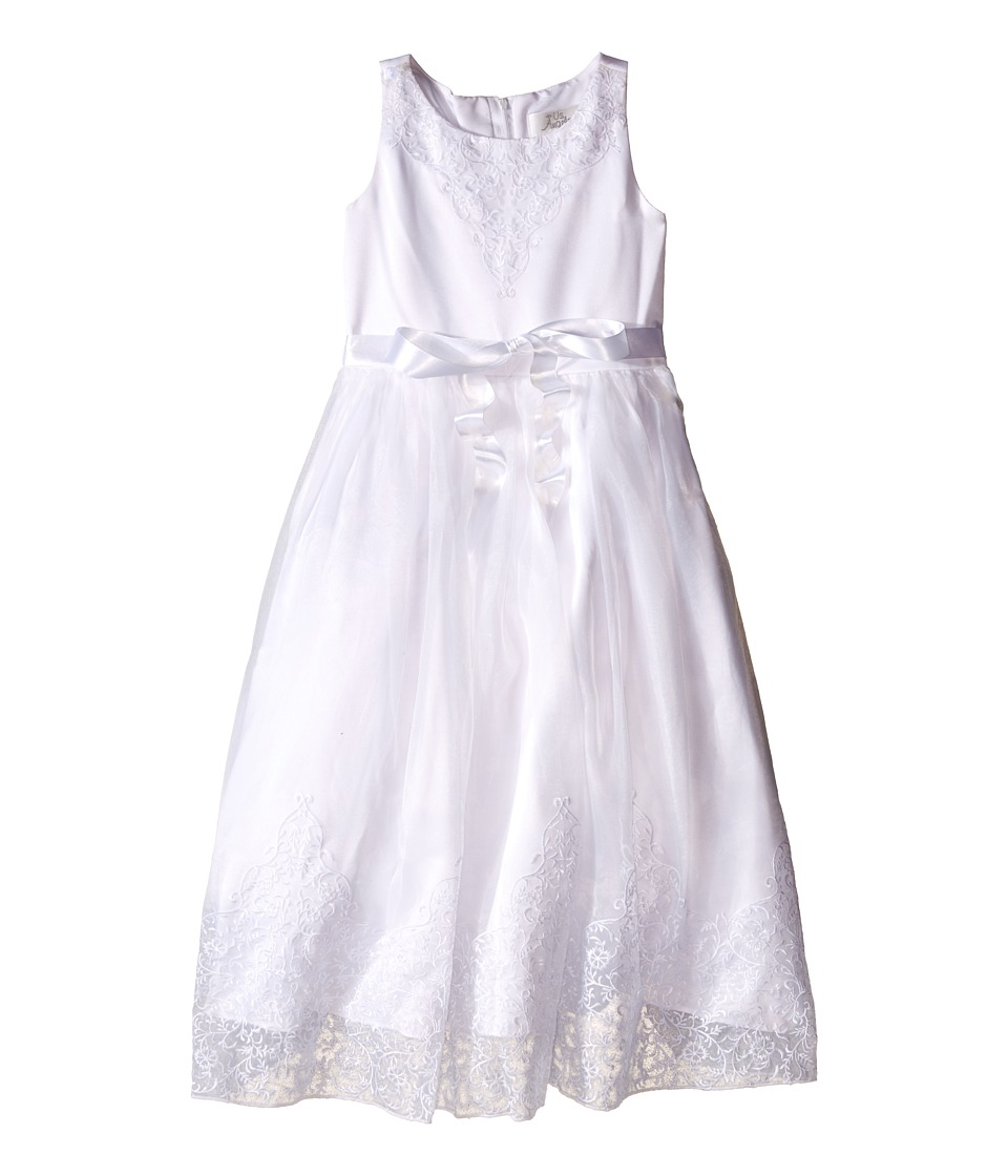 Us Angels - Embroidered Organza Satin Sleeveless Lace Dress (Little Kids/Big Kids) (White) Girl's Dress