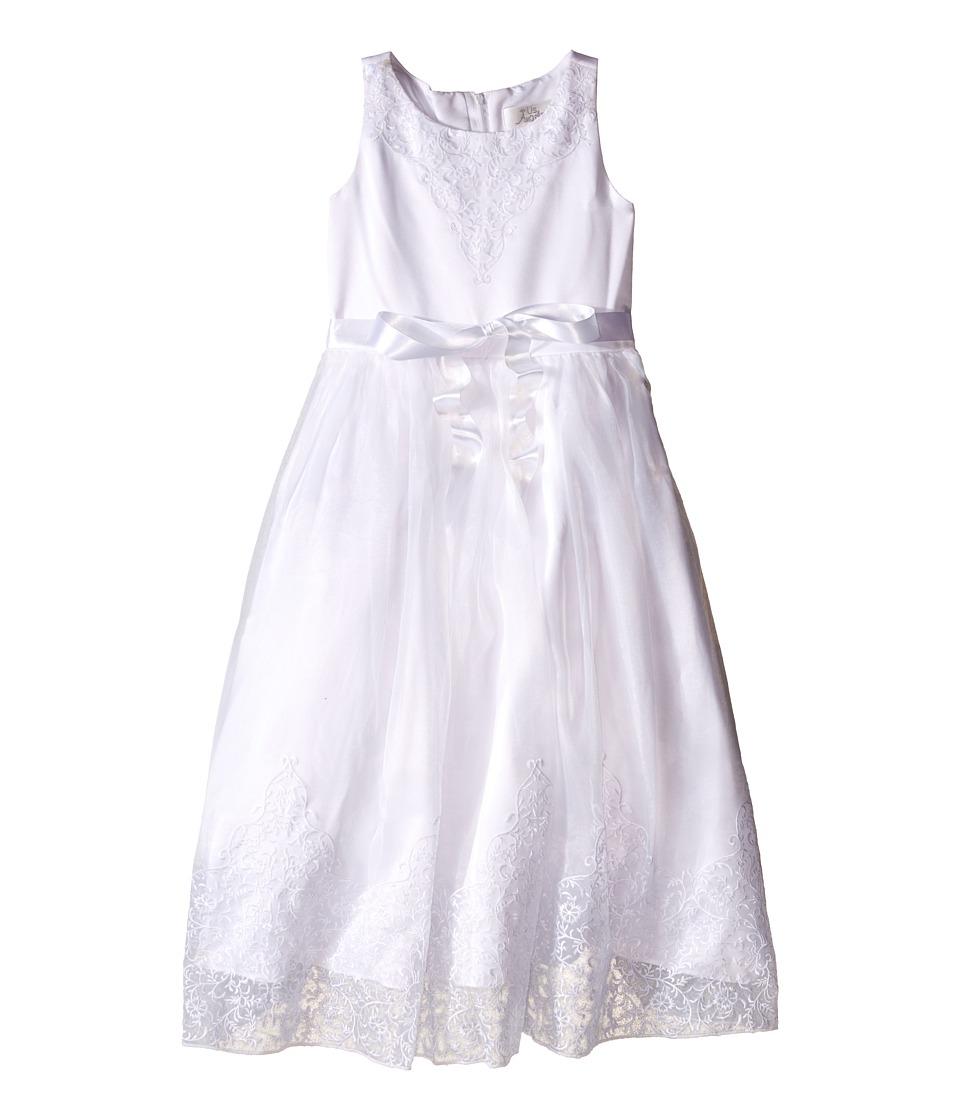 Us Angels - Embroidered Organza Satin Sleeveless Lace Dress (Little Kids/Big Kids) (White) Girl's Dress