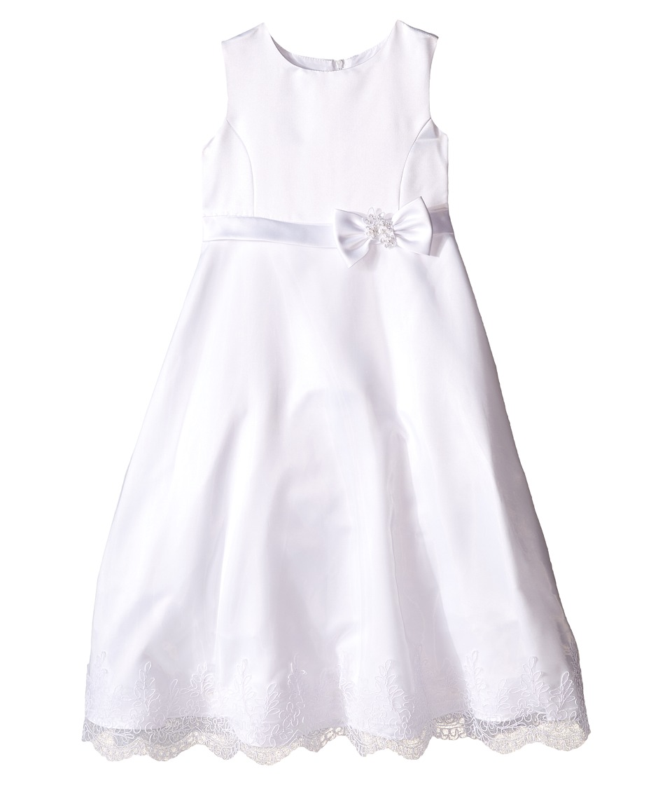 Us Angels - Satin Organza Sleeveless A-Line Dress (Little Kids/Big Kids) (White) Girl's Dress