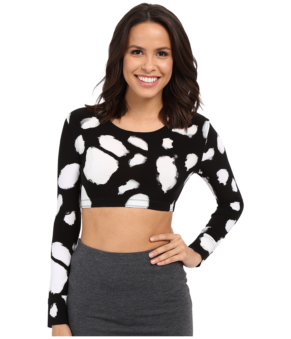 KAMALIKULTURE by Norma Kamali - Crew Neck Cropped Top (Floaters) Women's Long Sleeve Pullover