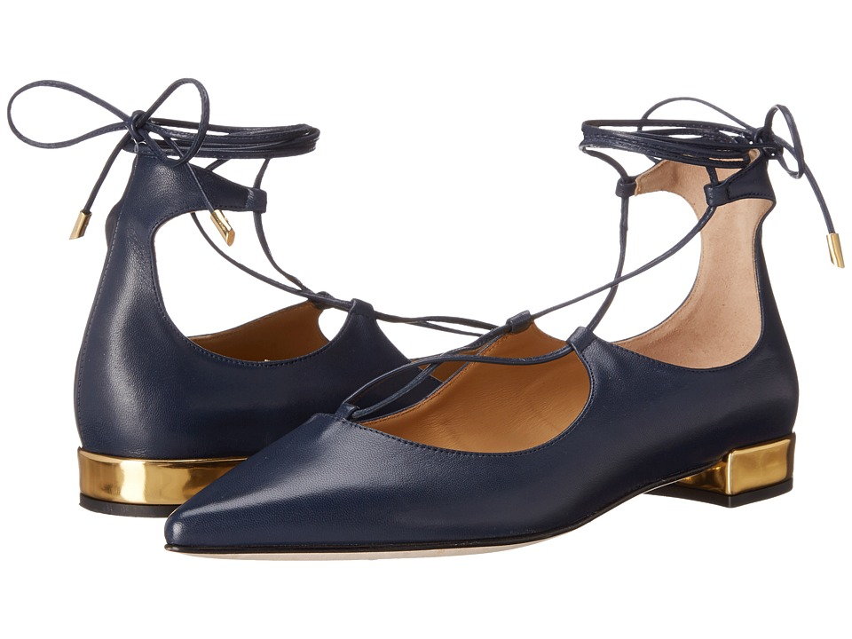 Massimo Matteo - Lace-Up Flat (Navy) Women's Flat Shoes