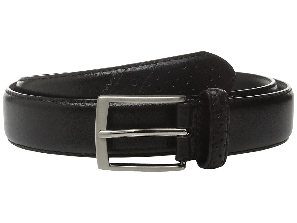 Stacy Adams - 32mm Full Grain Leather Top w/ All Leather Lining Perforated Tip (Black 2) Men's Belts