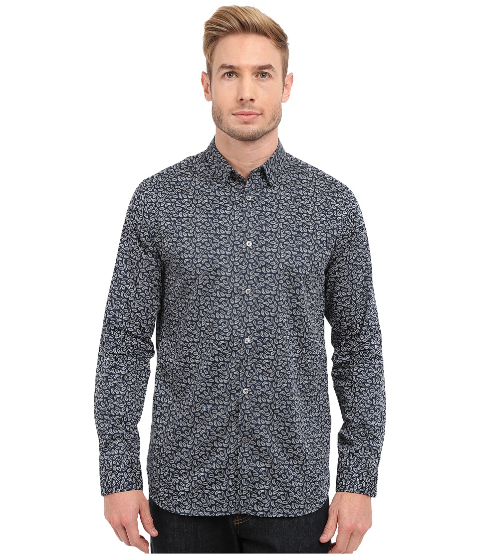 Ted Baker - Jazflut Long Sleeve Leaf Print Shirt (Navy) Men's Long Sleeve Button Up
