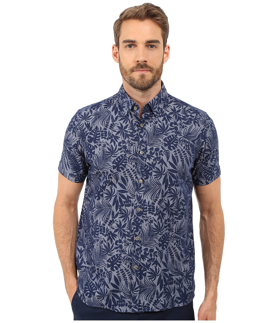 Ted Baker - Subzero Short Sleeve Large Floral Linen Shirt (Navy) Men's Short Sleeve Button Up