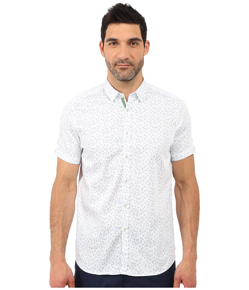 Ted Baker - Manoman Short Sleeve Floral Print Shirt (Blue) Men's Short Sleeve Button Up