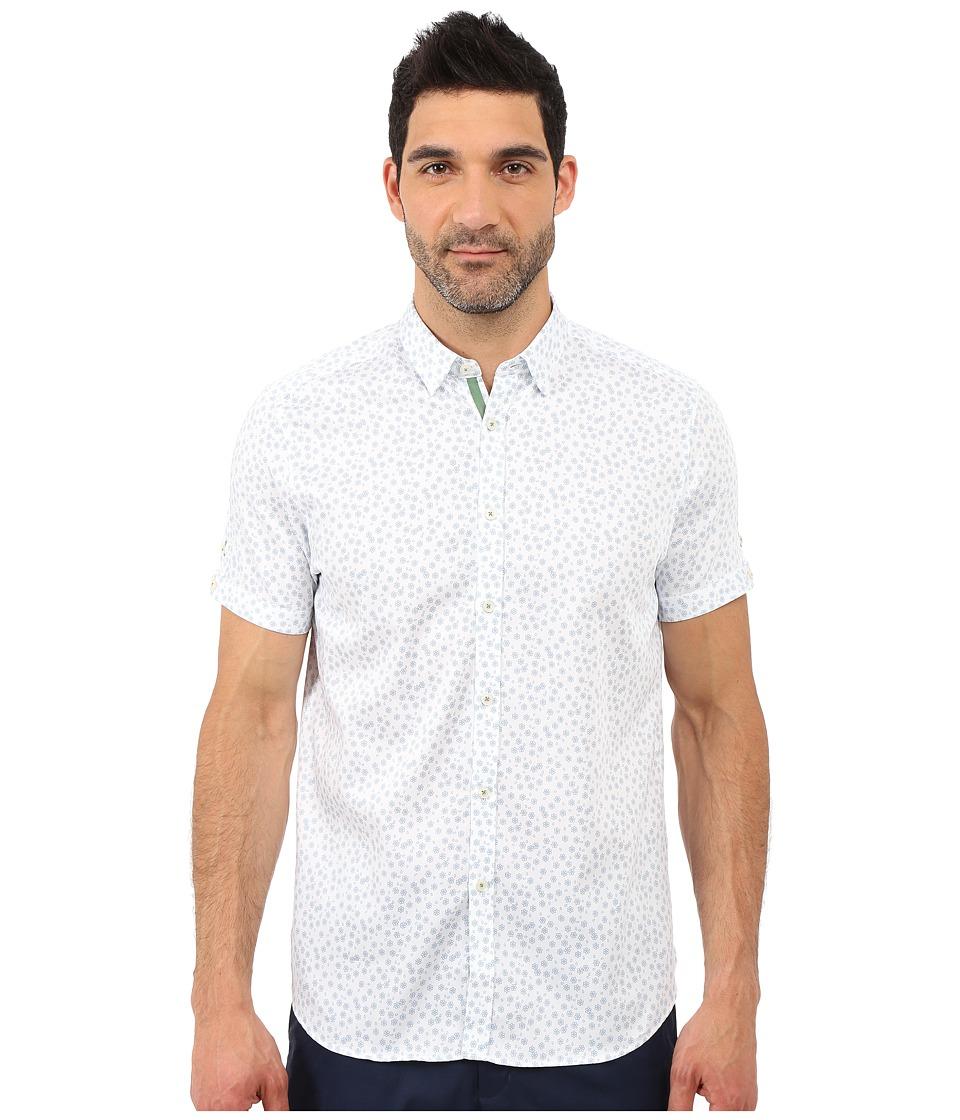 Ted Baker - Manoman Short Sleeve Floral Print Shirt (Blue) Men's Short Sleeve Button Up