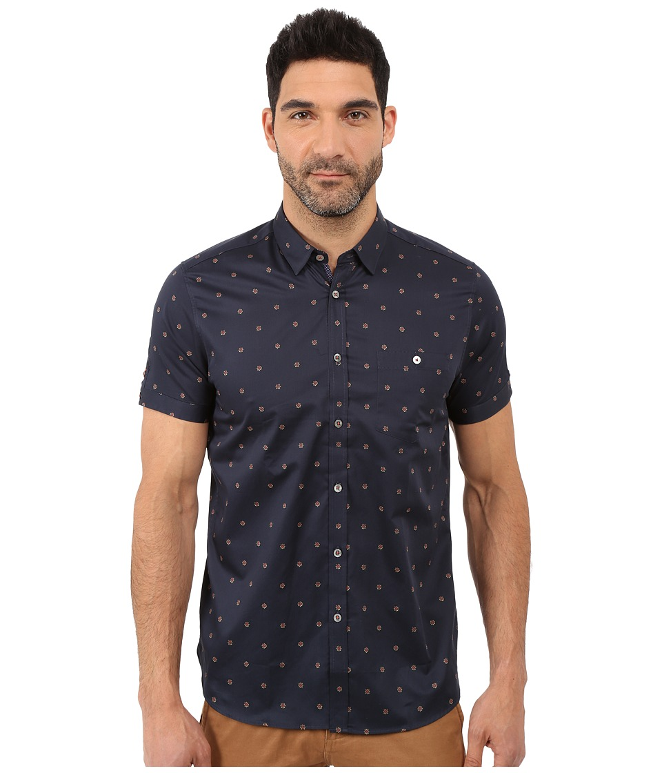 Ted Baker - Mydance Short Sleeve Floral Spot Print Shirt (Navy) Men's Short Sleeve Button Up
