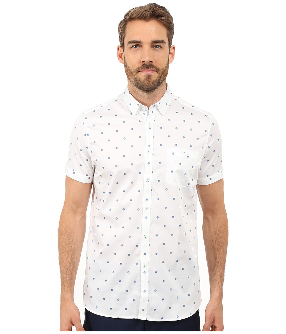 Ted Baker - Mydance Short Sleeve Floral Spot Print Shirt (White) Men's Short Sleeve Button Up