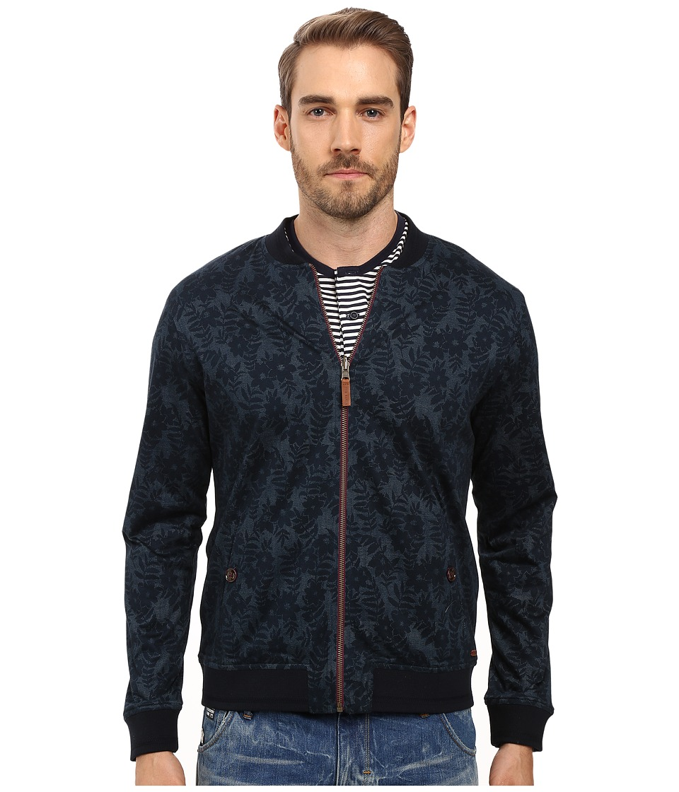 Ted Baker - Cartwel Floral Print Reversible Bomber (Navy) Men's Coat