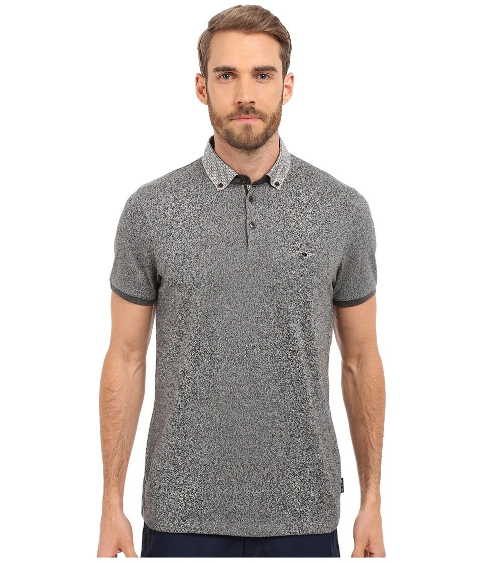 Ted Baker - Zoomba Printed Woven Collar Polo (Charcoal) Men's Clothing