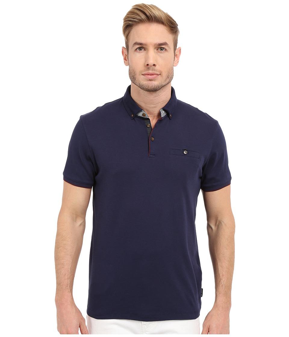 Ted Baker - Bustan Short Sleeve Jersey Polo (Navy) Men's Short Sleeve Pullover