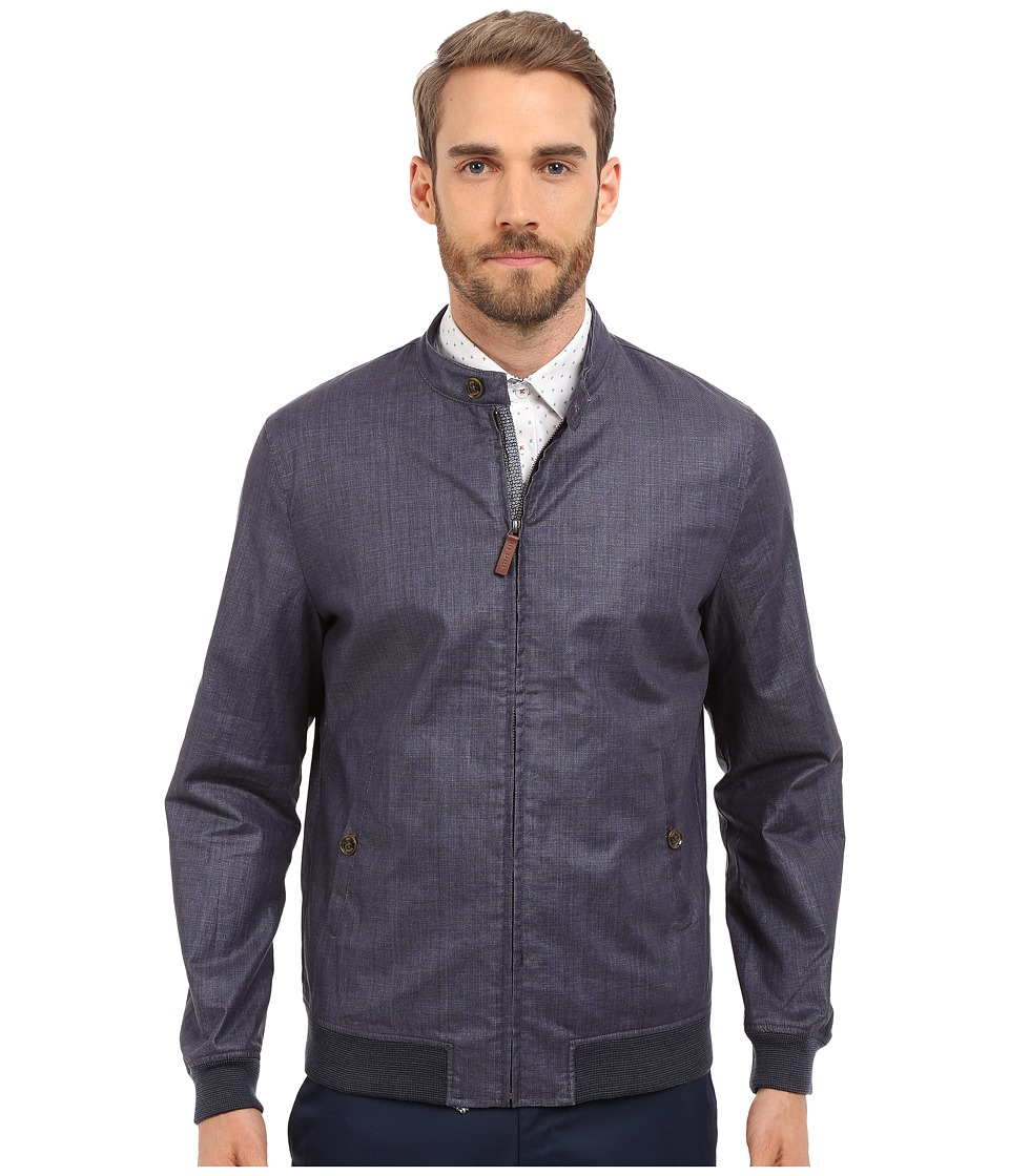 Ted Baker - Ryder PU Coated Linen Bomber (Navy) Men's Coat