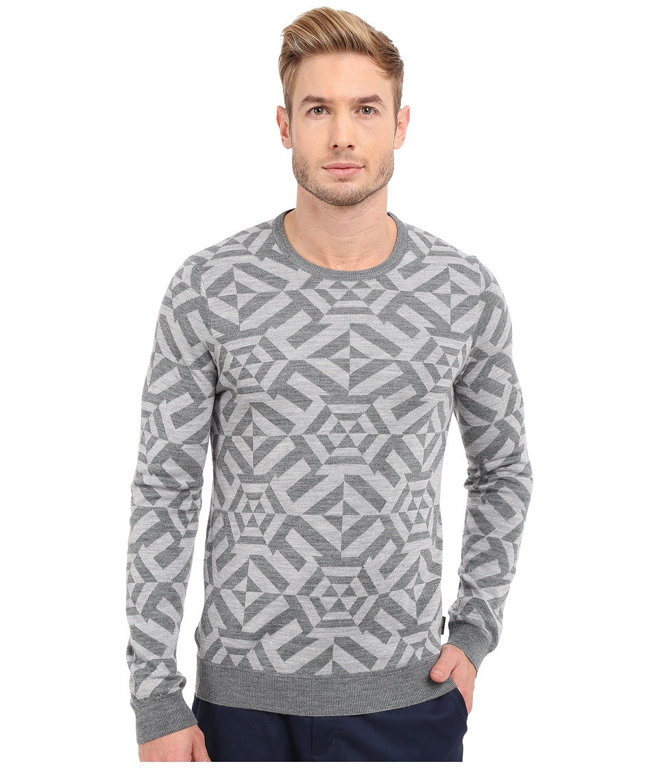 Ted Baker - Jakgee All Over Jacquard Long Sleeve Crew Neck (Grey Marl) Men
