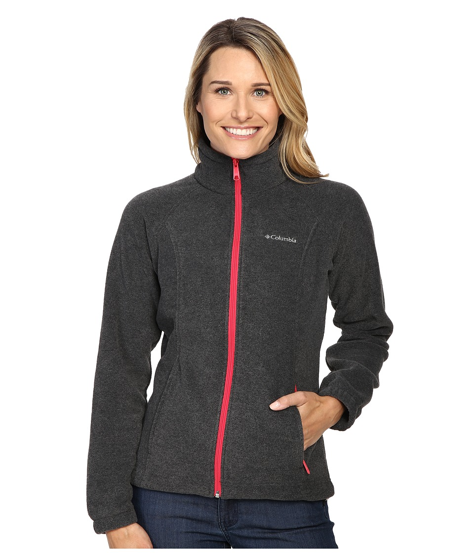 Columbia - Benton Springs Full Zip (Charcoal Heather/Punch Pink) Women's Jacket