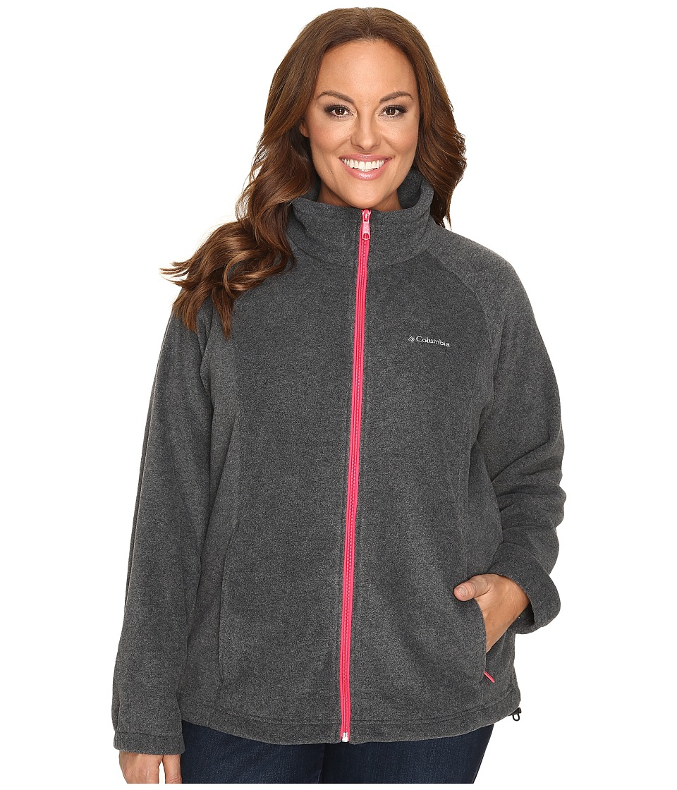 Columbia Plus Size Benton Springs Full Zip (Charcoal Heather/Punch Pink) Women