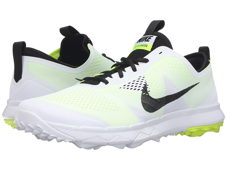 Nike Golf - FI Bermuda (White/Volt/Black) Men's Golf Shoes