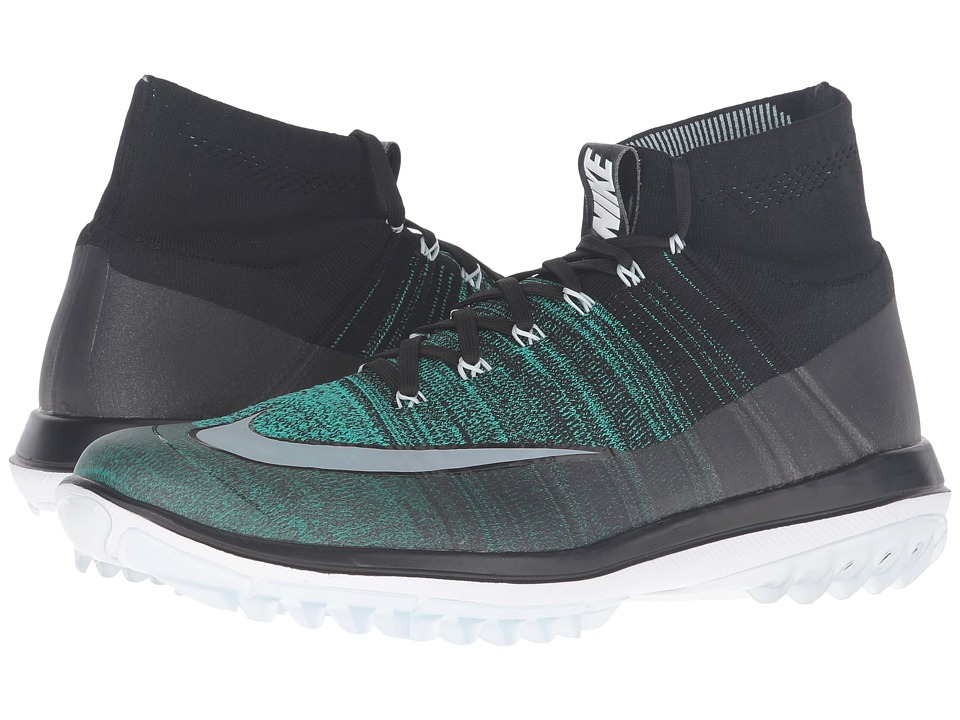 Nike Golf - Flyknit Elite (Black/Clear Jade/Glacier Blue/White) Men's Golf Shoes