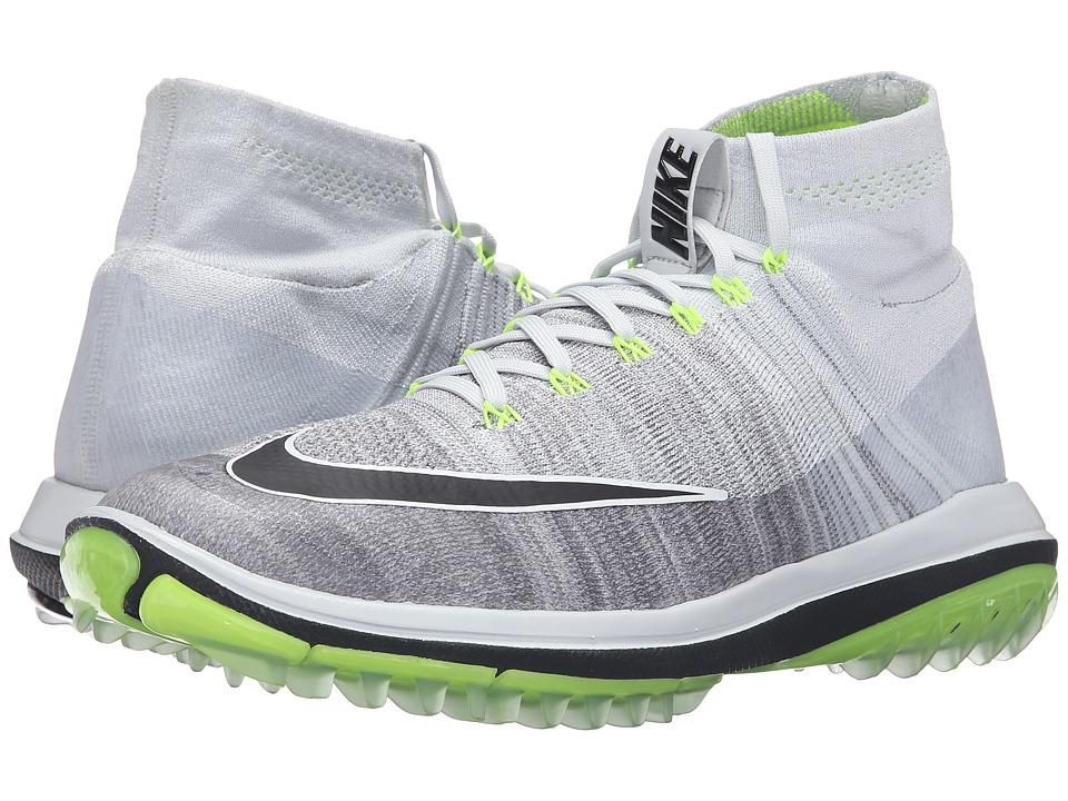 Nike Golf - Flyknit Elite (Pure Platinum/Cool Grey/Volt/Black) Men's Golf Shoes