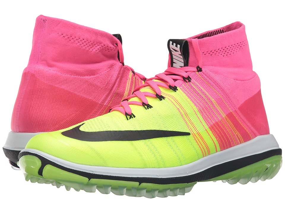 Nike Golf - Flyknit Elite (Pink Blast/Volt/White/Black) Men's Golf Shoes
