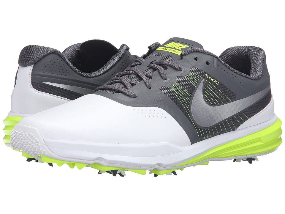 Nike Golf - Lunar Command (White/Dark Grey/Volt/White) Men's Golf Shoes
