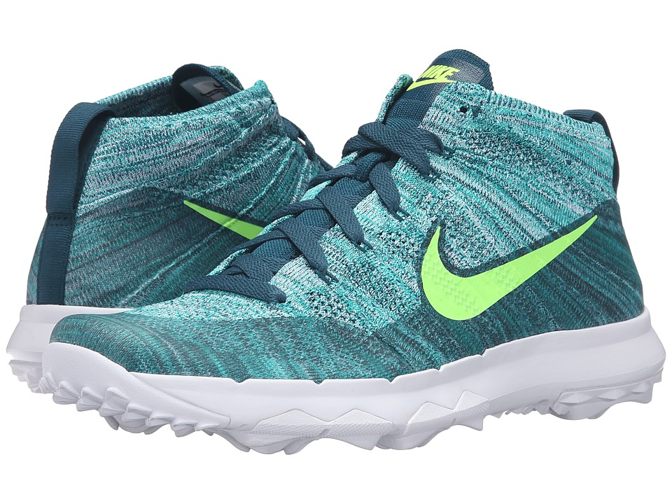 Nike Golf - FI Flyknit Chukka (Rio Teal/Midnight Turquoise/Hyper Jade/Volt) Men's Golf Shoes