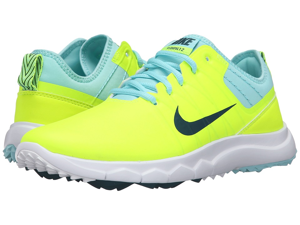 Nike Golf - FI Impact 2 (Volt/Rio Teal/Midnight Turquoise) Women's Golf Shoes