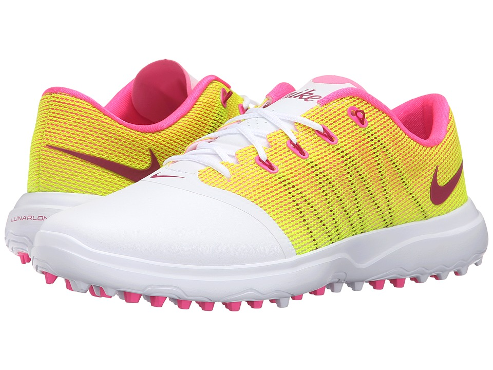 Nike Golf - Lunar Empress 2 (White/Pink Blast/Volt/Noble Red) Women's Golf Shoes