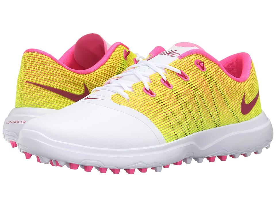 Nike Golf - Lunar Empress 2 (White/Pink Blast/Volt/Noble Red) Women's Golf Shoes