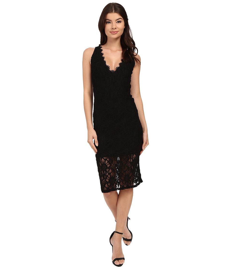 rsvp - Imogen Open Back Midi Lace Dress (Black) Women's Dress