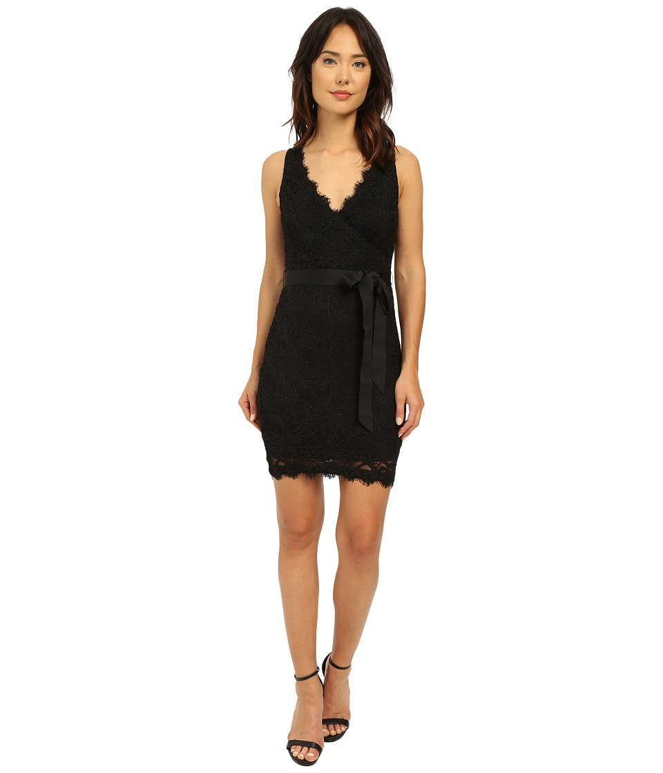 rsvp - Hayley Stretch Mock Wrap Dress (Black) Women's Dress