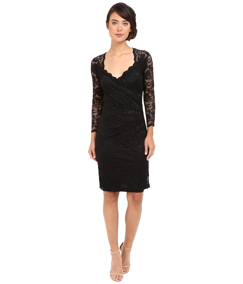 rsvp Short Margaux Lace 3/4 Sleeve Dress (Black) Women