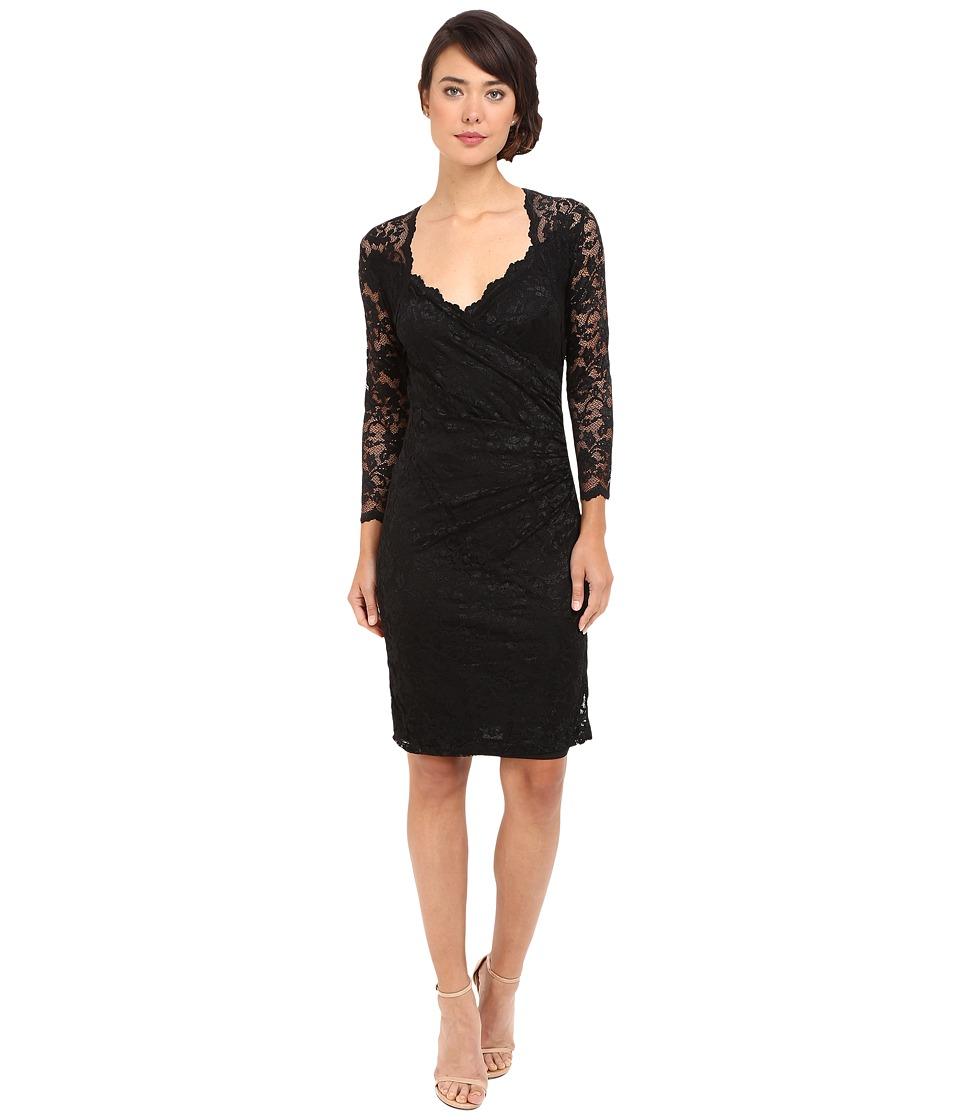 rsvp - Short Margaux Lace 3/4 Sleeve Dress (Black) Women's Dress