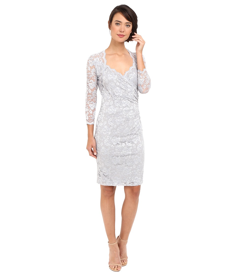 rsvp - Short Margaux Lace 3/4 Sleeve Dress (Silver) Women's Dress