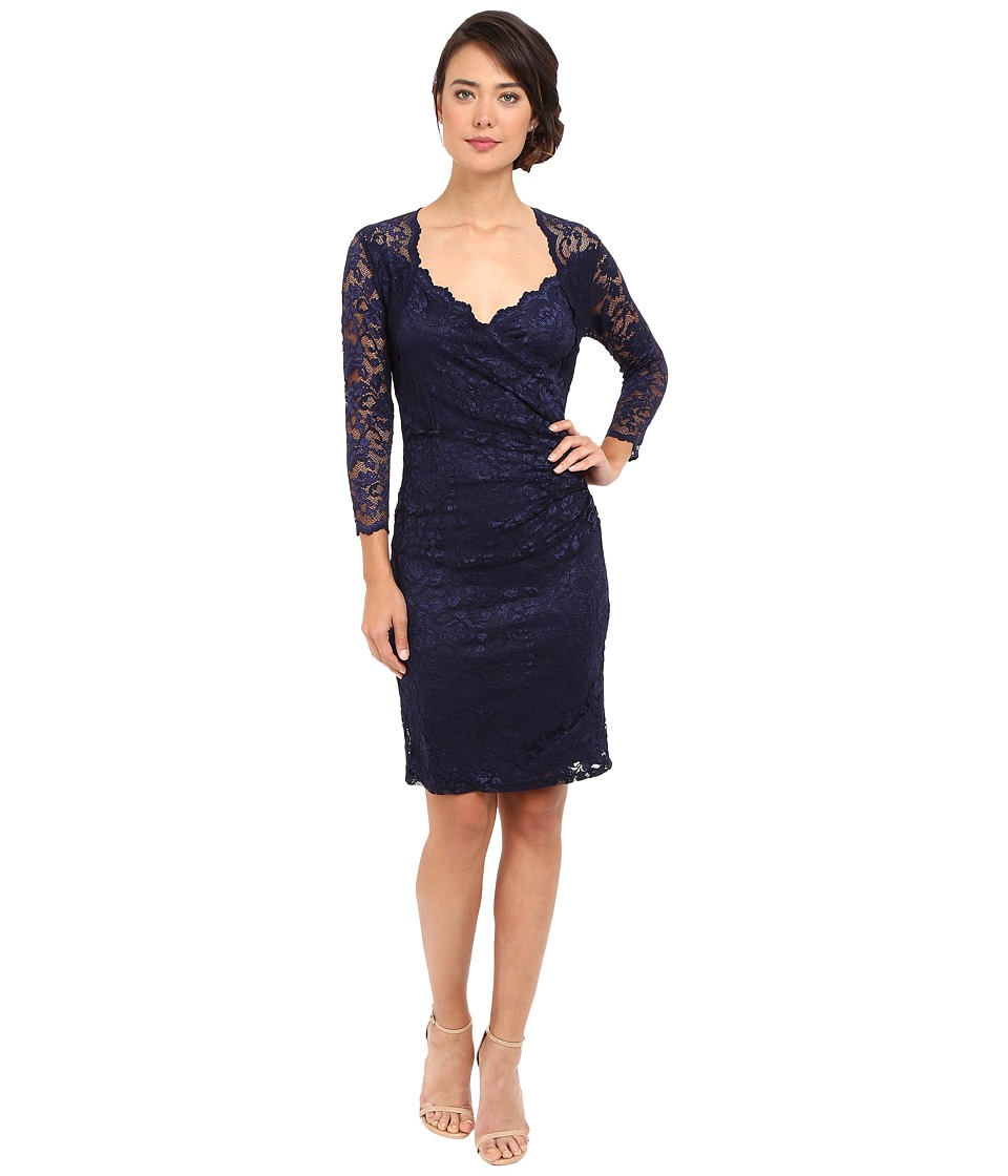 rsvp Short Margaux Lace 3/4 Sleeve Dress (Navy) Women