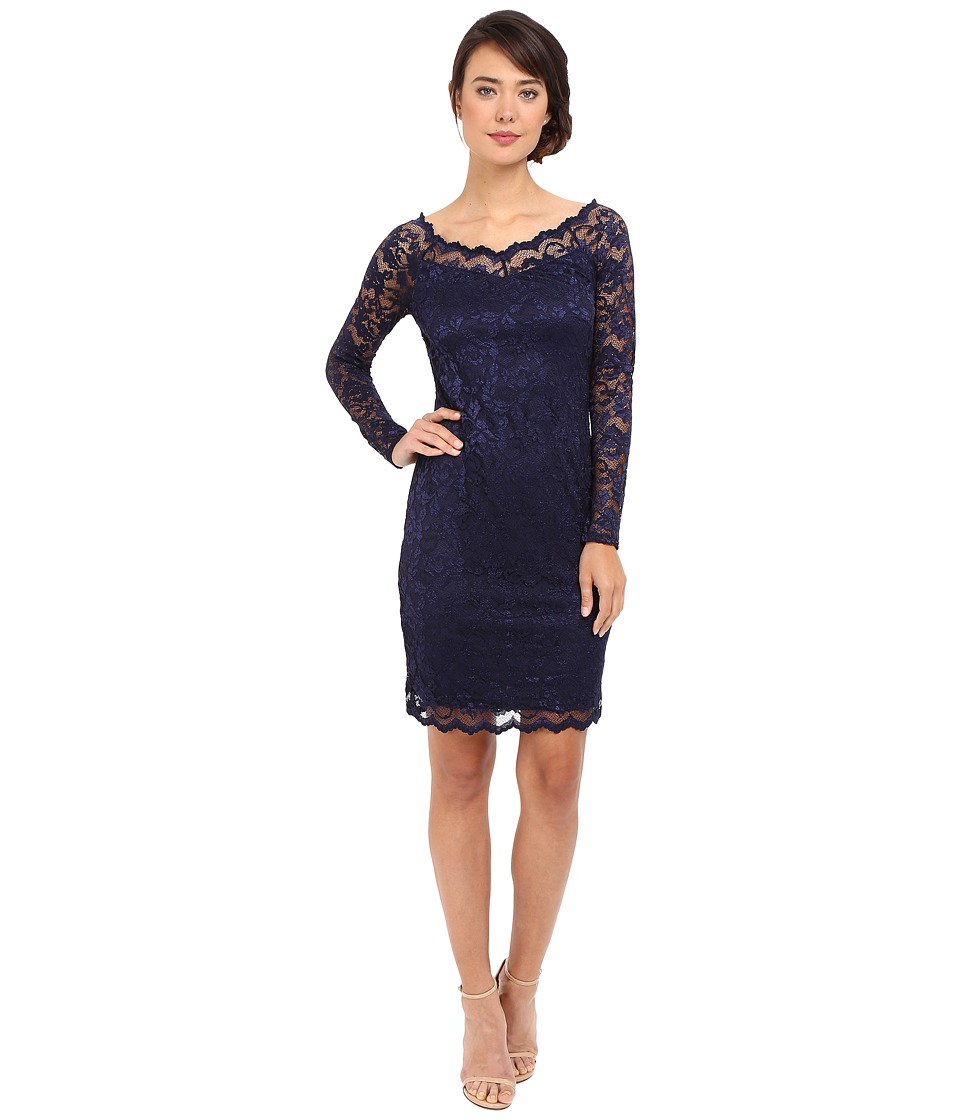 rsvp Short Margaux Lace Long Sleeve Dress (Navy) Women